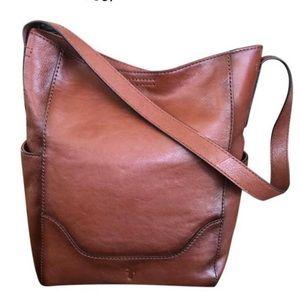 Frye Leather Side Pocket Hobo Cognac Snap Top NWT